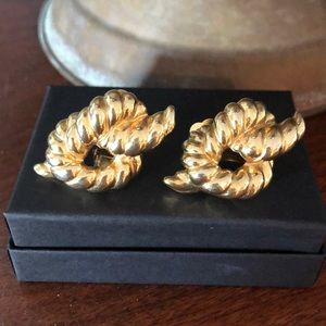 Large Gold Knot Rope Givenchy Paris N.Y. Earrings